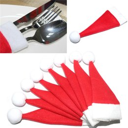 Wholesale Mini Santa Hats - 2015 New Christmas Hat Silverware Holder Xmas Mini Red Santa Claus Cutlery Bag Party Decor Cute Gift Hat Tableware Holder Set free shipping