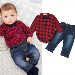 Wholesale Gentleman Romper Long Sleeve - Boys Clothes Gentleman Sets 2017 Autumn Boys Plaid Bow Long Sleeve Romper + Long Jeans 2 piece for Boys Outfits HX-846