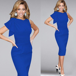 Wholesale Sexy Elegant Fitted Dresses - 2016 Sexy Casual Women Dresses Elegant Ruffle Sleeve Ruched Party Evening Prom Fitted Stretch Wiggle Pencil Sheath Dresses
