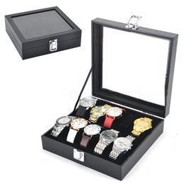 Wholesale Wrist Watch Storage - 10 Slots Wrist Watch Display Box Storage Holder Organizer clamshell Windowed Case watch boxes Jewelry Collection free shipping 230112