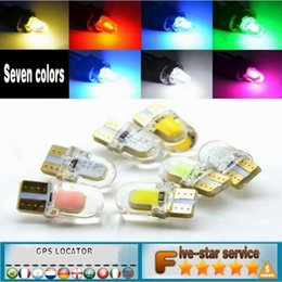 Wholesale front parking system - Led Lighting System Car BulbsT10 COB car LED license plate light crystal transparent waterproof W5W short silicone decoding read wide light