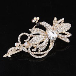 Wholesale Rhinestone Banana Clips - Wholesale-New Arrival Fashion vintage elegant gorgeous Rhinestones alloy peacock hairpin duckbill clip banana clip hair accessory