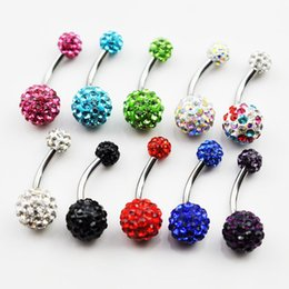 Wholesale Navel Crystal Ball - D0440-1 crystal stone belly ring double jeweled 5 8 ball jewelled Navel Belly ring 10 pcs mix colors stone drop shipping factory price