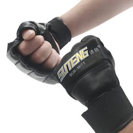 white leather gloves half Coupons - 1 Pair Pu Leather Half Mitts Mitten Mma Muay Thai Training Punching Sparring Boxing Gloves Golden  White  Red
