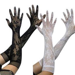 Wholesale Cheap Black Elbow Gloves - Cheap 3 Colors Long Lace Bridal Gloves About Elbow Length Full Finger Wedding Gloves White And Black Formal Party Long Glove
