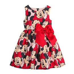 Wholesale Butterfly Tank - Minnie Mikey Mouse Girls Dresses Summer Kids Sleeveless Butterfly Clothes Vest Dress Childs Cartoon Bowknot Tank Dressy