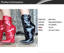 Wholesale 18cm High Heels Shoes - New sex toys Unisex sexy BDSM CD game play 18cm heel fetish shackle ankle lock high bondage boots shoes heeled