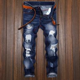 2019 mode pour les jeunes hommes Nouvelle mode fissurée Jeans Men briser trou marée mâle straight jeans faire l'ancienne personnalité original cow-boy Jeunes hommes promotion mode pour les jeunes hommes