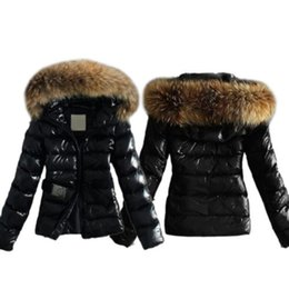 Wholesale Quilted Sleeves - 2017 Winter Women Warm Down Coat Parka Puffer Bubble Fur Collar Hooded Quilted Jacket 2 Colors Plus Size 5XL