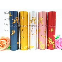 Wholesale Color Spray Bottles - 10ml Empty Spray Perfume Bottle Rose Butterfly Print Pretty Color Metal Scented Oil Bottle Atomizers Valentines Gift DC729