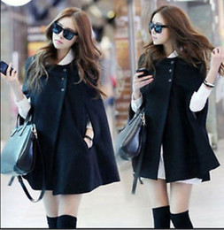Wholesale Woolen Ladies Jackets - 2015 Fashion Casual Womens Cape Coats Black Batwing Wool Poncho Jackets Fashion Lady Winter Warm Cloak Coats
