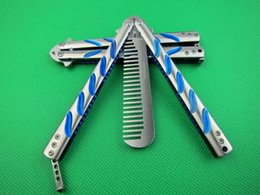 Wholesale Titanium Comb - MTECH C38 blue titanium comb Free-swinging Hunting Folding Pocket Knife flail knife Survival Knife Xmas gift 1pcs freeshipping