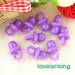 Wholesale Purple Baby Shower Favors - Free shipping--500pcs Mini Acrylic Solid Purple Baby Pacifier Baby Shower Favors~Cute Charms ~cupcake decorating