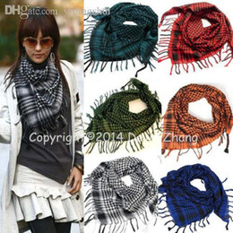 Wholesale Shemagh Kafiya Scarf - Wholesale-HOT!Unisex Women Men Arab Shemagh Keffiyeh Palestine Scarf Shawl Kafiya Fashion Neck Cover Head Wrap+FREE SHIPPING