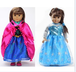 "Wholesale Wholesale Doll Clothing American Girl - 18 inch American Girl Doll Clothes Princess Elsa&Anna dress Fits 18"" American Girl Dolls Mix 2pcs"