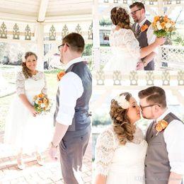vestidos de verão de comprimento completo Desconto 2016 primavera verão uma linha completa lace plus size vestidos de noiva com ilusão mangas meia gola a linha tea-length vestidos de casamento
