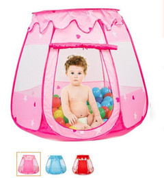 Wholesale princess playhouses - 3 Colors Large Children Kids Play Tents Girls Boys Ocean Ball Pit Pool Toy Tent Princess Castle Play TentIndoor & Outdoor Use Playhouse