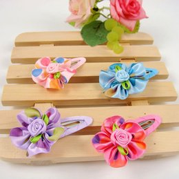 Wholesale Korean Hairclips - Freeshipping!New Girls Kids Infant Baby Colorful Rose Hairclips Hairpins Hair Accessories  Korean Style Fashion Gift Wholesale