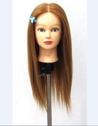 Wholesale Training Hair Dummy - Wholesale Dummy 20 inch High Temperature Fiber With Animal Hair Training Head For Bleach Paint Curl Straighten Hairdresser Mannequin Head
