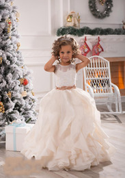 Wholesale Party Dresses For Children - 2018 Cheap Flower Girls Dresses For Weddings Illusion Neck Lace White Ivory Sashes Ruffles Party Princess Children Kids Party Birthday Gowns