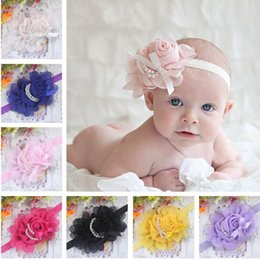 Wholesale Indian Pearl Headbands - Stylish Baby Chiffon Pearl Beaded Headband Kids Rose Satin Bow Headdress Flower Infants Hairband Children Head Wear Photography Prop