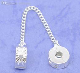 Wholesale Bracelet Stopper Clips - Wholesale-5 SP Safety Chains Stopper Clip&Lock Fit Charm Bracelet