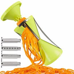 Wholesale Vegetable Spiralizer - Newest 4 Blade Replaceable Vegetable Spiral Slicer Cutter Vegetable Spiralizer Grater Spiralizer for Carrot Cucumber Courgette
