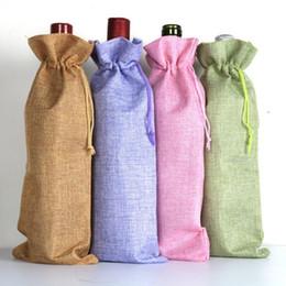 2019 i sacchetti di trasporto di iuta Sacchetti di bottiglia di vino di iuta champagne Coperture della bottiglia Sacchetti regalo di lino tela tela di iuta trasporto veloce di alta qualità F20172666 i sacchetti di trasporto di iuta economici