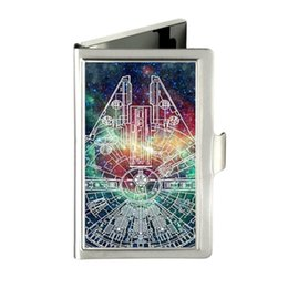 Wholesale Stainless Steel Name Holders - Millenium Falcon Star Wars Nebula Custom Design Unique Business Card Holder Pocket Wallet Name ID Credit Case Stainless Steel Box Case