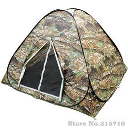 Wholesale Portable Toilet Outdoors - Wholesale- Camouflage 3-4 person Watching bird hunting Toilet Dressing Pop up Portable UV Hiking Travel Faimly Party Outdoor Camping tent