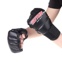 white leather gloves half Coupons - 1 Pair Pu Leather Half Mitts Mitten Mma Muay Thai Training Punching Sparring Boxing Gloves Golden  White  Red 2018