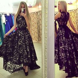 Wholesale Fashion For Plus Size Girls - 2017 Black Lace Prom Dresses High Low A-line Scoop Modest Special Occasion Evening Party Gowns For Girls New Style