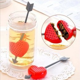 Wholesale Teacup Strainer - Tea Strainers Romantic Cupid Arrow Love Heart Tea Infuser Herb Leaf Filter Strainer Stirrer Teabag Teapot Teacup Filter Bag Free shipping