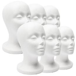 Wholesale Styrofoam Wig - Styrofoam Foam Mannequin Model Head White Model Display Tool Wigs Hat Holder Woman 11 INCH Head