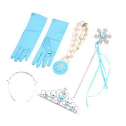 Mädchen gefrorenes zubehör online-Nagelneu und hohe Qualität Mädchen 4 Stück gefroren Prinzessin Haarschmuck Krone Perücke Zauberstab Handschuh Cosplay