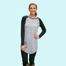 Wholesale Color Block Tee Shirts - Women Long Sleeve T-Shirt Color-Block Raglan Sleeve Long Tees Gray Black Casual Tees Tops Sports Wear Cotton Top MDF0287