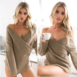 Wholesale White Sweater Coat Women - New Autumn And Winter Sweater Coat Female Chest Cross V Strapless Knitted Coat