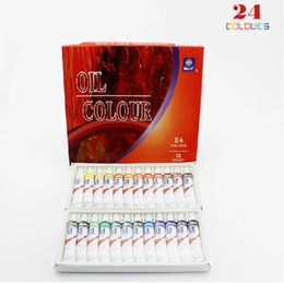 Wholesale Oil Painting Colours - Wholesale-1 Set  24 colors Professional Oil Colour Paint Non-toxic Eco Friendly Tube Art Painting Pigment Drawing Tool For Artists 12 ml