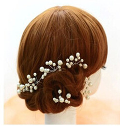 Wholesale Brown Beads Crystal Glass - 20 pieces White Red Bridal Hair Pins Accessory Wedding Prom hair Clip Boutique Wholesale Drop shipping Flowers Beads For women