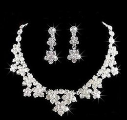 Wholesale wedding jewelry sets for cheap - Wedding Jewelry Shining New Cheap 2 Sets Rhinestone Bridal Jewelery Accessories Crystals Necklace and Earrings for Prom Pageant Party
