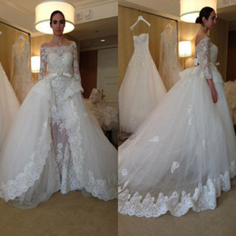 Wholesale Bridal Gown Belts Sashes - 2017 Lace Ball Gown Wedding Dresses with Off Shoulder Illusion 3 4 Sleeves Beadeds Sequins Appliques Bow Belt Overskirt Ruffles Bridal Gowns