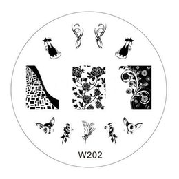 Wholesale Nail Stamping Art W - Wholesale-Free shipping 70MM Nail Art Stamp Stamping Stainless Steel Image Plate Design Template W series