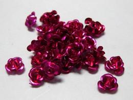 Vente en gros-200 perles de fleur de rose en métal de couleur mélangée en aluminium 6mm ? partir de fabricateur