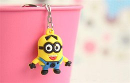 Wholesale Despicable Pvc Figures - 2015 Hot Sale 3D Despicable Me Minion Action Figure Keychain Keyring Key Ring Cute Mix order 10 styles Best Christmas Gift DHL