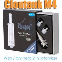 Wholesale E Vapor Herb - Cloutank M4 Airflow Control System Dry Herb Wax 2 in 1 Vaporizer vs Cloupor cloutank M1 M2 M3 pluto herbal vaporizers pen e cigarettes vapor