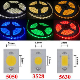 Wholesale Warm White Strip Lights - High Birght 5M 5050 3528 5630 Led Strips Light Warm Pure White Red Green RGB Flexible 5M Roll 300 Leds 12V outdoor Ribbon