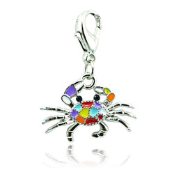 Wholesale silver crab charm - Mix Order Fashion Charms 2 Color Enamel Crab Animals Lobster Clasp Charms DIY Pendants Jewelry Accessories