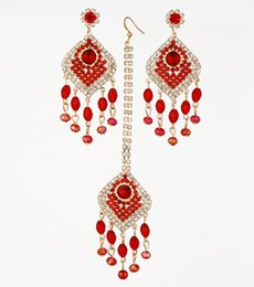 Wholesale Bollywood Wedding - Indian Bridal Jewellery Rhinestone Earring Set Crystal Stud Headpiece Bollywood Wedding Dancing Belly Dance Accessories Jewelry