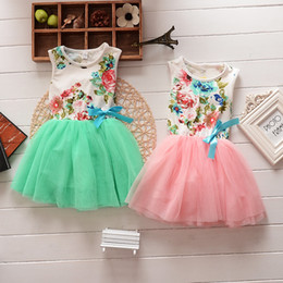 Wholesale Cotton Skirt Lace - children's clothing flowers ribbon lace roses Skirt Floral girls dress Cute Sweet pink baby kids tutu dresses 4color 4 Size summer new