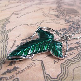 Wholesale Rings Elves - New European and American film Lord of the Rings elf brooch leaf brooch necklace Jewelry pendant necklace brooch dual purpose
